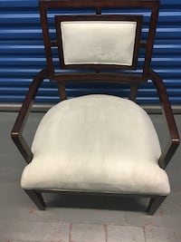 brown wooden framed white padded armchair Washington, 20017