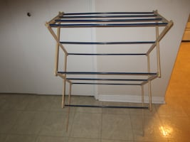 A wooden clothes rack