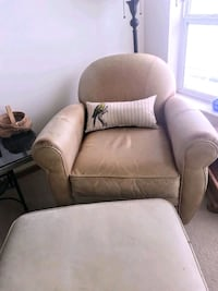 Leather chair plus ottoman