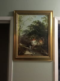 House near tree and road brown-framed antique  painting