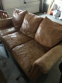 Brown leather sofa, 1 ink stain on cushion Salem, 24153