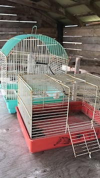 two teal and red metal pet cages South-West Oxford, N5C