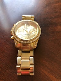 round gold-colored chronograph watch with link bracelet Ontario, 91764