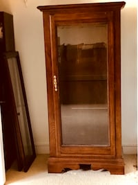 Beautiful wood display cabinet,patio table with 4 chairs.