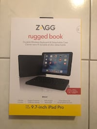 ZAGG Rugged Book Durable Case with Detachable Backlit Bluetooth Keyboard for Apple iPad Pro 9.7 and iPad Air 2 (not made for 2017 5th Gen 9.7) - Black Burbank, 60459