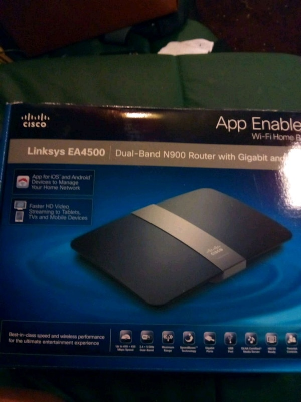 black Cisco Linksys EA4500 modem box