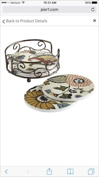 Pier One (white, brown and red floral) coasters Arlington, 22201