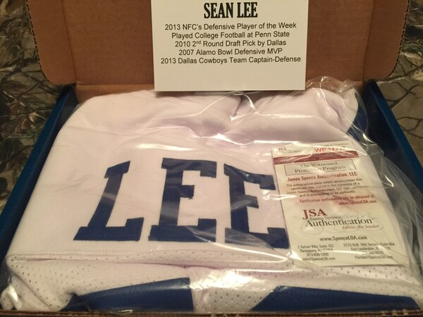 quality design 15e02 19857 Sean lee hand signed dallas cowboys custom made pro-style autographed  jersey, jsa coa