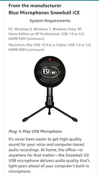 Snowball Black Plug and Play USB Microphone Boston