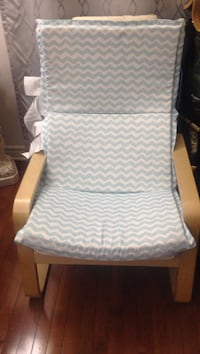 white and blue fabric padded armchair Montréal, H4R 1S5