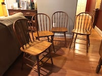 Brown wooden dining chair set