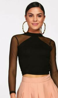women's black sheer crop top