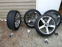 Rims and tires the tires are general Max all seasonal tires forty thou
