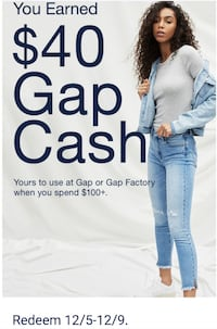 GAP cash $40 off $100+