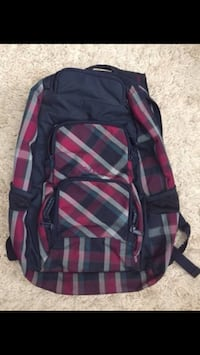 black red and white backpack