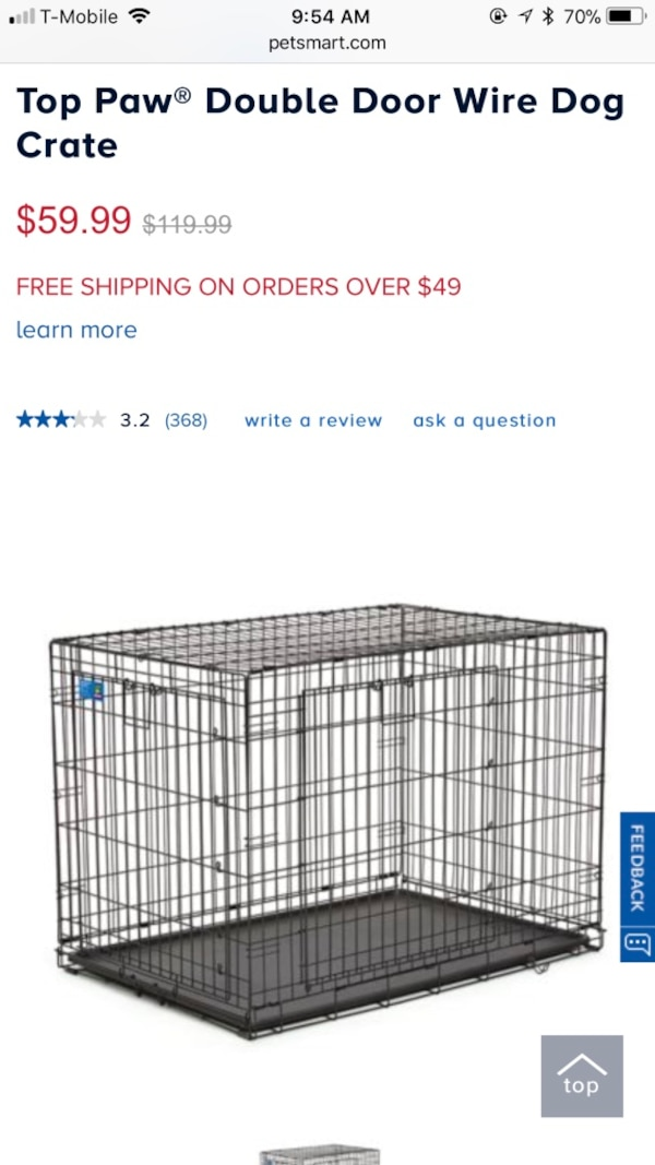 Used Black Top Paw Double Door Wire Dog Crate Screenshot For Sale In