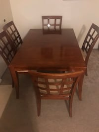 """Heavy wood dining set 30""""H43x64"""" top table with 5 chairs  Gaithersburg"""