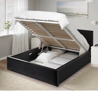 Pull up storage bed, black-brown, Queen Montréal, H4R 0A9