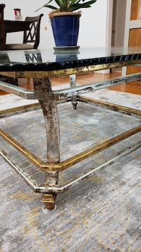 Large Glass and Metal Coffee Table null