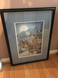 "Framed Wolf Picture 19.5""x26"" 30 mi"