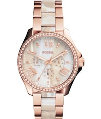 Fossil Two-Tone Rose Gold White Marble Calgary, T2V