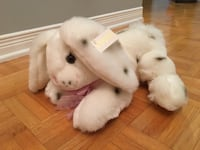 white and black rabbit plush toy MONTREAL