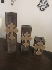 Three brown wooden candle holders Waco, 76712