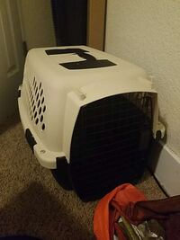 black and white pet carrier