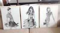 3 Piece set of large Fashion Prints on Canvas null