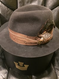 black and brown suede fedora hat ROCKVILLE
