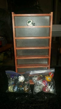 Set of mini NFL helmets and wood wall display  Bradenton, 34203