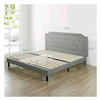 New in box king upholstered tufted bed frame  2283 mi