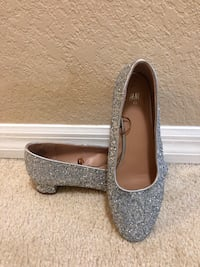 Silver low heel shoes sparkling