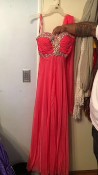 Coral strapless prom dress Covina, 91724