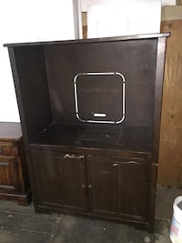 Brown wooden tv hutch Jersey City, 07310