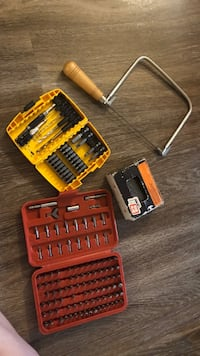 Drill bits, coarse thread drywall screws, and a coping saw. Lake Mary, 32746