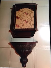 Floral  wooden curio and dome  wall mount shelf