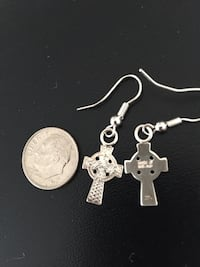 Irish Celtic Cross Tiny Sterling Silver Drop Earrings Arlington, 22204