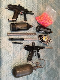 two black paintball markers