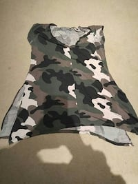 black and white camouflage v-neck tank top