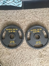 (2) 25 LB Golds Gym Weights  Tulsa, 74137