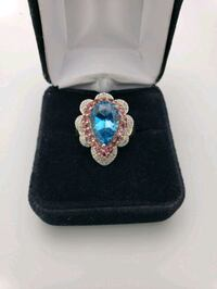 10K Yellow Gold Pink and Blue Stone Ring  Upland, 91786