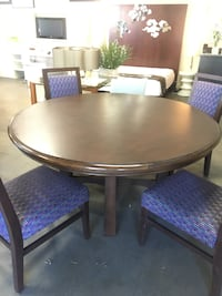 Dark Wood Dining Table Includes 4 Purple Chairs 2256 mi