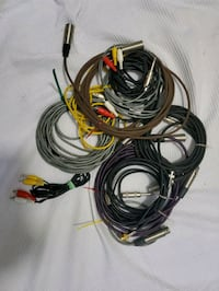 Audio cables xlt, rca cables, connections for equipment,  microphone