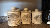 three white ceramic canisters with lids Laval, H7P 5X6