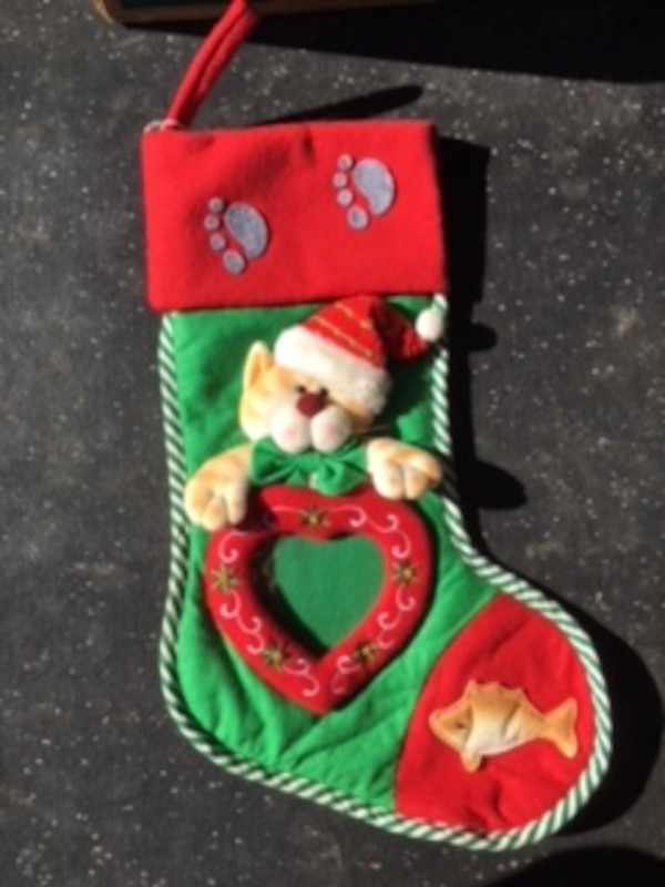 Used Orange Tabby Cat Christmas Stocking With Photo Frame For Sale
