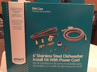 """Dish care 6"""" stainless steel dishwasher install kit with power cord box"""