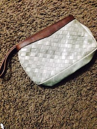 woven gray shoulder bag
