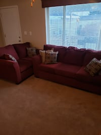 Near new burgundy couch and loveseat. Layton