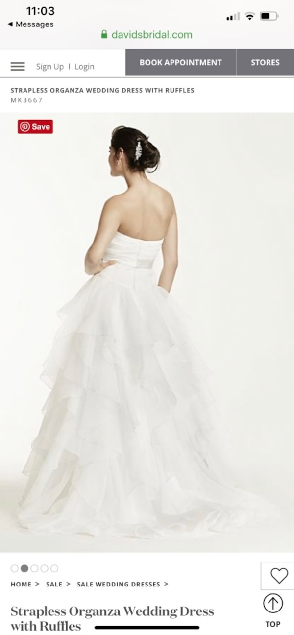 Strapless Organza Wedding Dress with Ruffles 51d0a9e4-b72c-4cdf-a6c6-08e7d38a026a